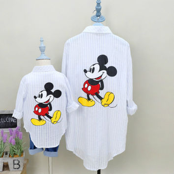 Family Matching Mother Son Outfits Mother and Daughter Clothes Minnie Mouse Dress Mickey Shirt Hoodies Mom and Baby Clothes wqy