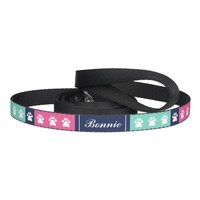 Preppy Colors And Dog Paws With Name Of Pet Dog Lead