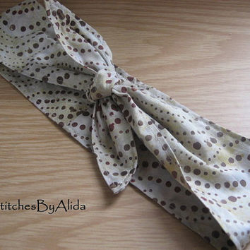 Hair Bandana, Rockabilly 50s Bandana, Bandana Headband, Knotted Bandana, BOHO Hairband, Women and Teens, Batik Look, Fabric Headband, #315