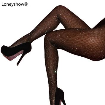Sexy Women Fishnet Stockings Shiny Crystal Rhinestone Mesh Stocking Long Tights Pantyhose Black Brown Red Blue 17 Colors