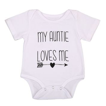 Pudcoco Infant Bodysuit Summer Newborn Bodysuit Baby Clothes Cotton Unisex My Auntie Love Me Baby Boy Girls Graphic Letter Print