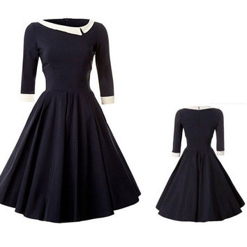 Fashion Plus Size Vintage Retro Rockabilly Pinup Housewife Party Dress OL A-Line Dress