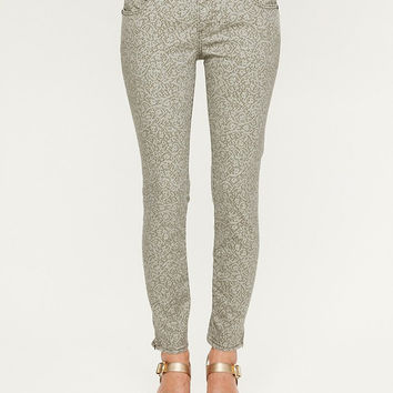 Free People Lace Print Cropped Skinny Jean Size 27