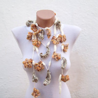 Hand crochet Lariat Scarf  Cream Yellow Brown Flower Lariat Scarf Colorful Variegated Long Necklace Winter Fashion