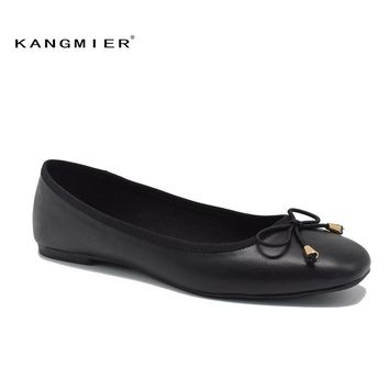 flats shoes women black PU leather Ballerina ballet flats square toe with bow tie 2017 Autumn fashion KANGMIER