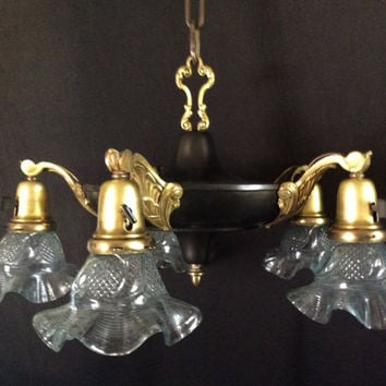 Antique Vintage 5 Arm Victorian Pan Chandelier Brass Accents  1920s