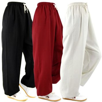 Classic Cotton&Linen Pants Bloomers Yoga Clothing Tai Chi Square Dance Yoga Pants Kung Fu Running trousers Both Men and Women