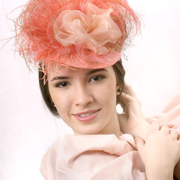 Ascot hat free shipping! Light Coral Royal Ascot Fascinator,Peach blossom gold flower Kentucky derby hat, Haut Couture hat Wedding headpiece