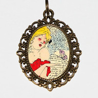 Love Thoughts, Butterfly Woman, Art Nouveau, Burlesque Jewelry, Pin Up Girl, Pinup Necklace, Oval Pendant