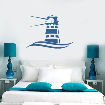 Wall Vinyl Sticker Decal Beacon Light Waves Sea Marine Ocean Beach House Unique Gift (n088)
