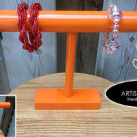 Bracelet Holder Wood Display  Bracelet Organizer Bangle Holder Orange Color Orange Stain T Bar Bracelet Holder Bracelet Stand