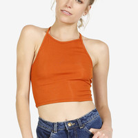 Tie Back Ribbed Halter - Sunset