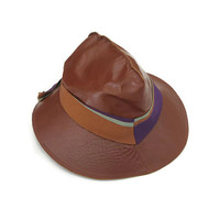 Meyerson Fedora, Leather Hat, Brown Leather, Meier and Frank, Womens Fedora, Vintage Fedora, Vintage Hat