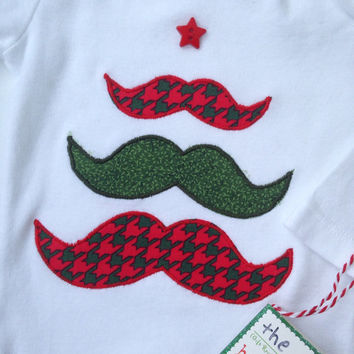 Christmas Mustache Onesuit, Mustache Christmas Tree, Baby Boy Christmas shirt
