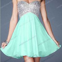 Short Prom Dress, A-line Sweetheart Mini Chiffon Prom Dress 2014-Criss-cross Back