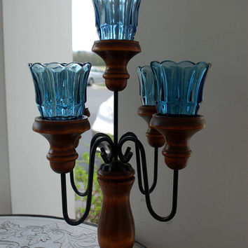 Homco / Home Interiors / Wood and Metal Candelabra with Smoked Blue Tulip Votives / Fluted Votives / Five Arm Candelabra / sconce