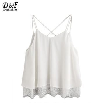 Summer Women Tank Tops Ladies Sexy Sleeveless White Lace Trim Crisscross V Back Cami Top Camisole