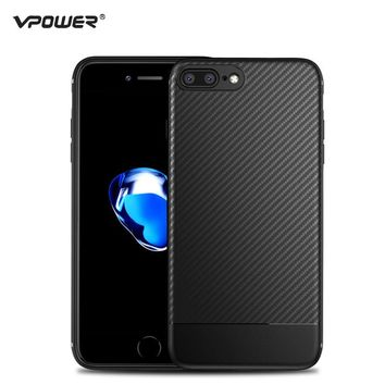 For iPhone 8 Case iPhone 7 Cover Vpower Carbon Synthetic Fiber Soft Silicone Phone Cases for Apple iPhone 7 / 8 Plus Back Covers