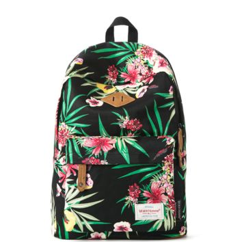 Stylish Lightweight Black Leaf Floral Print Canvas Unique Backpack Daypack