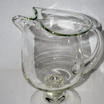 vintage hand blown glass pitcher   martini pitcher barware ice tea pitcher