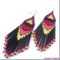 Native American Style Beadwork Dangle Seed Bead Earrings Sunset Fire