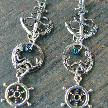 Nautical mermaid earrings  mermaid siren earrings anchor ships wheel  in boho gypsy hippie hipster  beach  resort and fantasy style