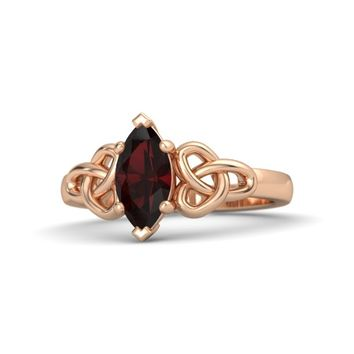 Marquise Red Garnet 18K Rose Gold Ring
