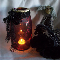 HALLOWEEN CANDLE Holder Made from a Mason Jar