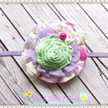 Green Purple Pink Headband, Fabric Birthday Headband, Flower Hair Piece, Toddler Hairband, Infant Hair Bows, Baby Girl Prop, Newborn Bows
