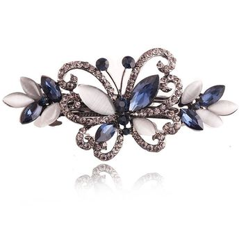 1 PCS Opals Crystal Butterfly Hair clip Rhinestone Girls Barrette Hairpin Hair Accessories Hair Jewelry For Women Wedding