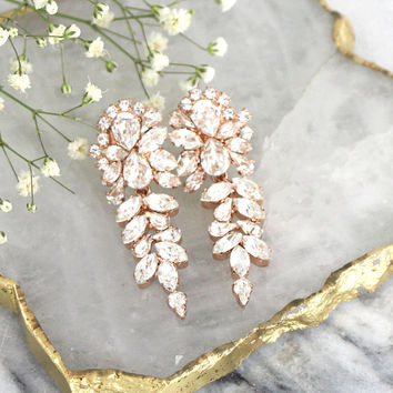Bridal Earrings, Bridal Crystal Earrings, Bridal Chandelier Earrings, Swarovski Crystal Bridal Earrings, Rose Gold Crystal Cluster Earrings