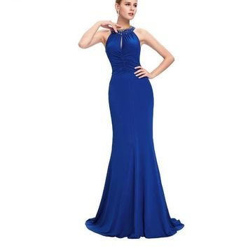 Blue Long Evening Dress Sexy Halter Neck Formal Evening Gowns Dresses Black Red Jersey Mermaid Dress