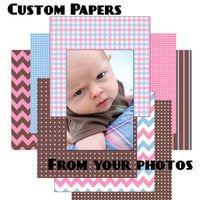 CUSTOM Kids Digital Scrapbooking Paper Pack – custom digital papers colored to match your photos – 1, 2, or 3 color set - Digital Files ONLY