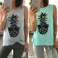 Women Summer Pineapple Vest Top Sleeveless Shirt Blouse Casual Tank Tops T-Shirt