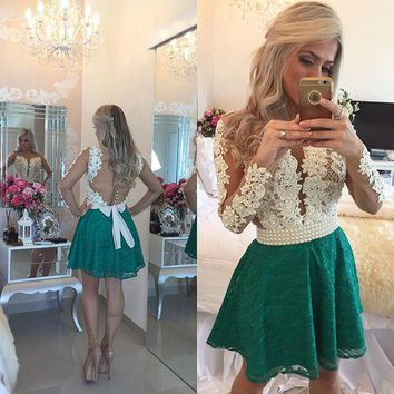 Sexy See Through Pearls Lace Short Cocktail Dresses 2017 Long Sleeve Homecoming Party Dress Robe De Cocktail Vestidos Coctel C3
