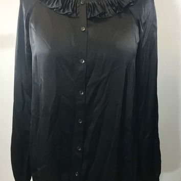 GARNET HILL ~ Black 100% SILK Very Long Tunic Shirt w A-Line Cut Ruffle Neckline