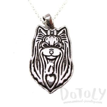 Yorkshire Terrier Puppy Dog Portrait Pendant Necklace in Silver   Animal Jewelry