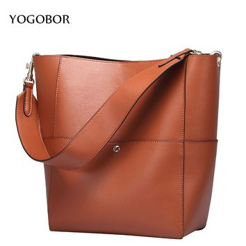 2017 Designer Women Genuine Leather Handbags Bucket Shoulder Bags Ladies Cross Body Bags Large Capacity Shopping Tote Bolsa