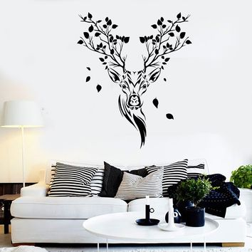 Vinyl Wall Decal Ethnic Forest Deer Head Tree Branch Branch Nature Stickers (2518ig)