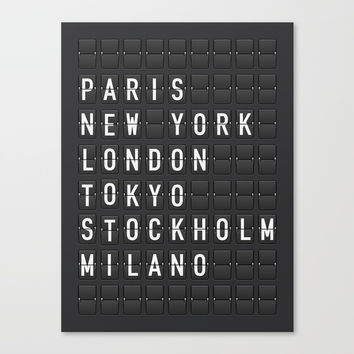 Paris, New York, London, Tokyo, Stockholm, Milano Canvas Print by printapix