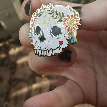 Ornate Skull Hard Enamel Pin with Floral Wreath in White Gold Red Green and Blue inspired by Folk, The Moon and Gothic themes