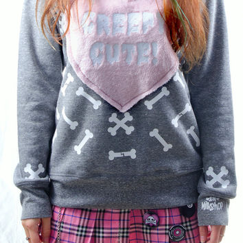 Kawaii Pastel Goth Creepy Cute Bones Fluffy Heart Sweater Sweatshirt