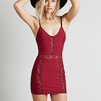 Skivvies by For Love & Lemons Womens Lace Insert Bodycon Slip