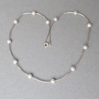 Sterling Silver Floating Cultured Pearl Vintage Necklace