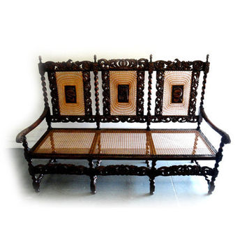 Estate Oak Barley Twist Carved English Bench Hall Entry Bedroom Local Pickup Only