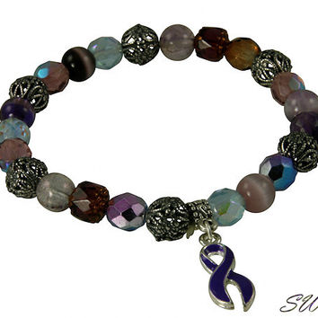 Purple Fancy Glass Mix Awareness Beaded Bracelets