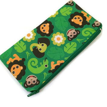 Animal Zipper Pouch - Jungle Wallet - Pencil Case - Small Cosmetic Bag - Back to School - Kids Wallet - Fabric Pouch - Cute Wallet - Kawaii