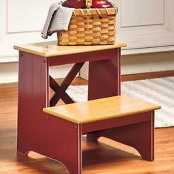 Red Beadboard Country Step Stool 2-Tone Finish Kitchen Household Stool Home