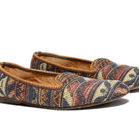 VTG Woven Kilim Southwestern Tapestry Slip On Loafers size 7/8