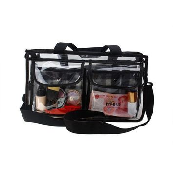 ESBONHS ISMINE Black Transparent high-capacity portable Big Cosmetic bag 2 Layer travel bag for toiletry kits with Strapes